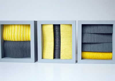 Black Gray Yellow, 3 units each 170 x 125 x 70 mm, 2012, Private Commission