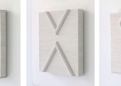 Julia Gardiner, White Seam 1, 2 & 3 each 250 x 200 x 36 mm, 2002